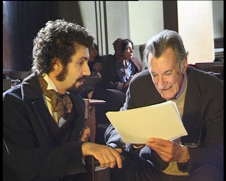 """Fabrizio Gifuni e Carlo Lizzani (da """"Le Cinque giornate di Carlo Lizzani"""" di Rossano Vittori)"""